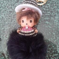 Porte-clés bijoux de sac kiki strass chapeau