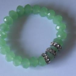 Bracelet cristal vert opale et strass blanc.