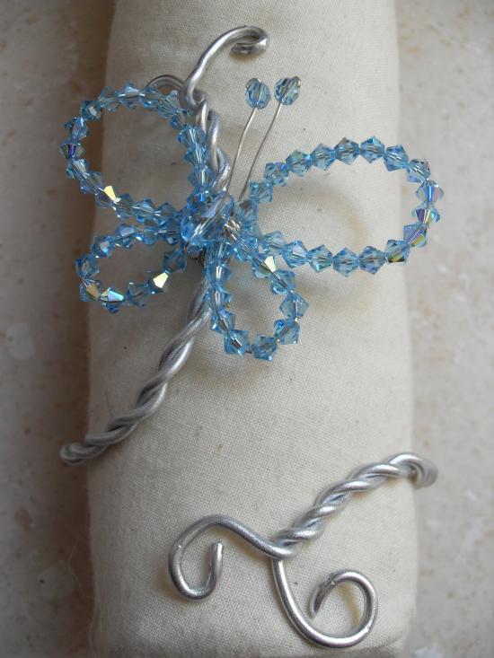Parrure papillon métal et cristal swarovski. Bracelet.
