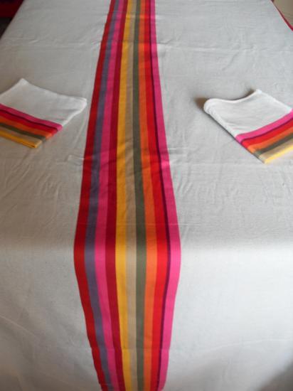 La nappe de Sophie et ses 18 serviettes.