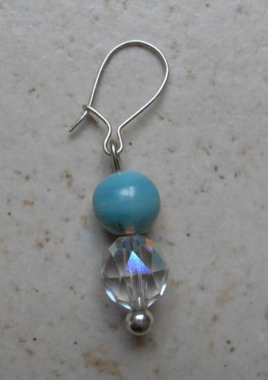 Boucles d'oreilles perles cristal swarovski et turquoise