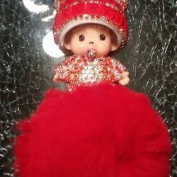 Porte-clés bijoux de sac kiki strass rouge