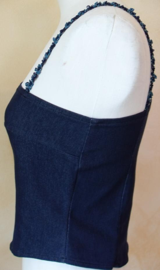 bustier jean's bretelle fleurs bleues. côté