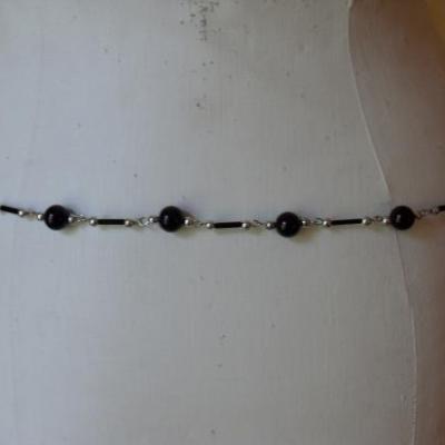 Ceinture-bijou, 2 rangs perles noires