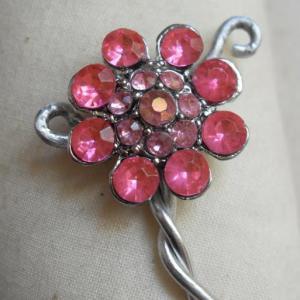 Bracelet acier-fleur strass rose.zoom fleur