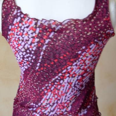 Débardeur voile imprimé rose-violet