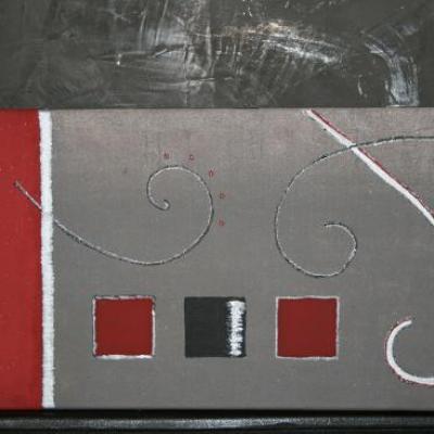 Tableau bordeaux et gris, carrés et arabesques.