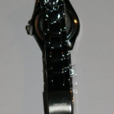 Montre ronde Sinobi, métal et strass.