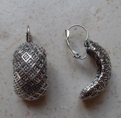 Boucles d'oreilles allongées en métal argenté.
