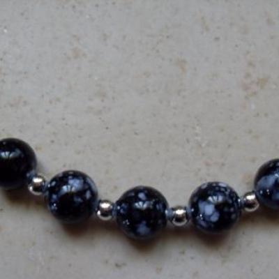 Parure velours noir et perles
