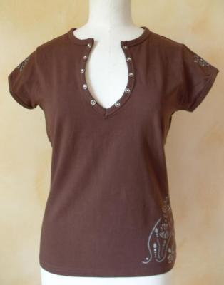 Tee-shirt fleurs et strass marron