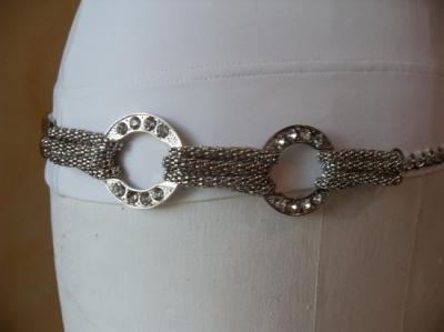 Ceinture-bijou métal argenté et cercles strass