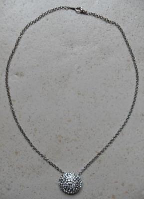 Collier chaîne et boule strass