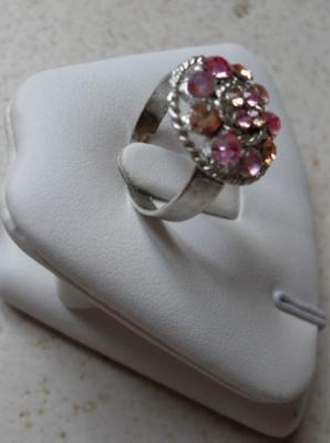 Bague ronde métal et strass rose-orange