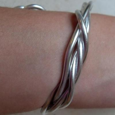 Bracelet rigide 4 rangs métal argenté