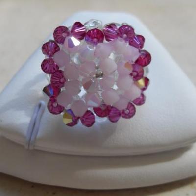 Bague cristal swarovski rose.