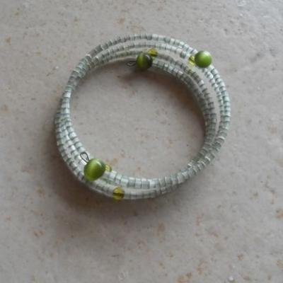 Parure sautoir et bracelet, perles vertes.