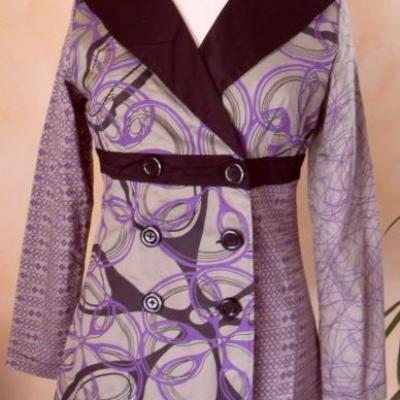 Veste ANOUK, grise et imprimé violet de Smash.