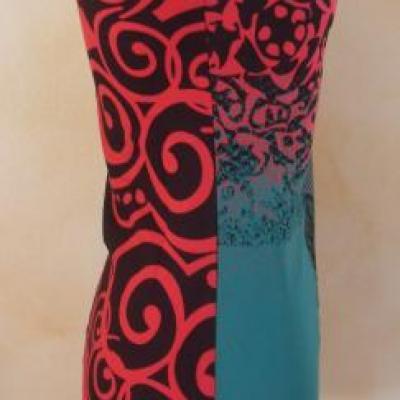 Robe-tunique KAYLEE rouge et verte de Smash.