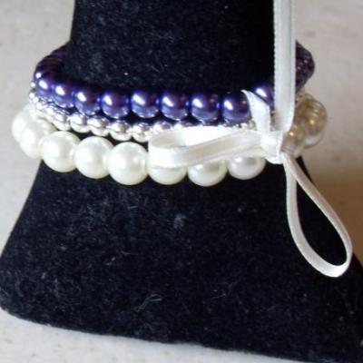 Bracelet 3 rangs de perles, prune et métal, collection les