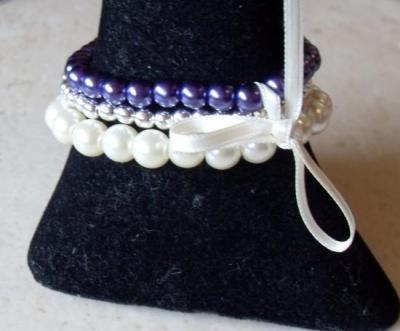 """Bracelet 3 rangs de perles, prune et métal, collection les """"séparables"""""""