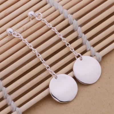 Boucles d'oreilles pendantes argent fil et rond.