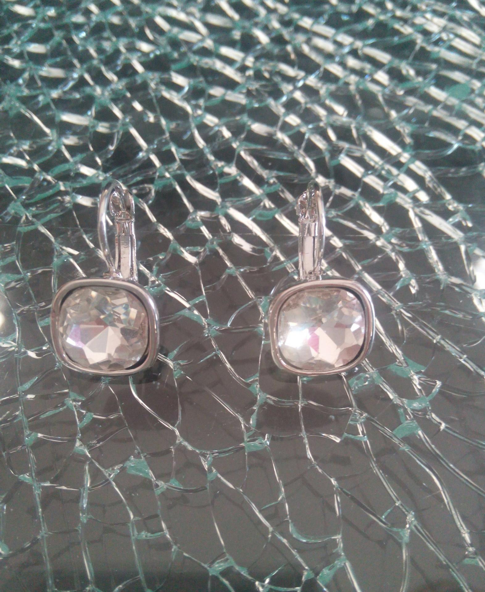 Boucles d'oreilles carré strass blanc