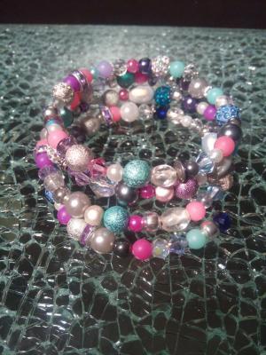 Bracelet multi-rangs multicolore, perles, métal, strass, cristal de swarovski