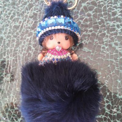 Porte-clé, bijou de sac kiki bonnet laine bleu , pompon et strass