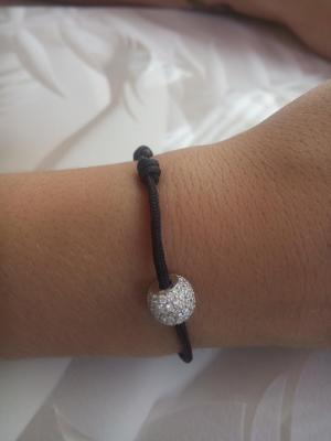 Bracelet cordon noir, perle argent et oxyde de zirconium