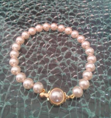 Bracelet plaqué or et perles imitation culture