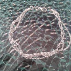 Bracelet argent 925 multi-chaînes et billes