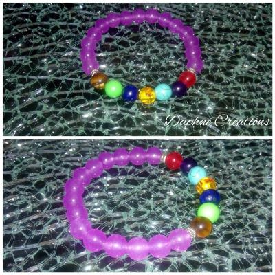 Bracelet violet et perles 7 chakras