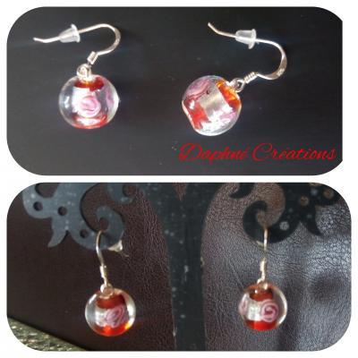 Boucles d'oreilles argent 925 et perles de verre rouge et argent