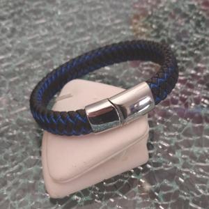 bracelet tressé cuir noir et bleu