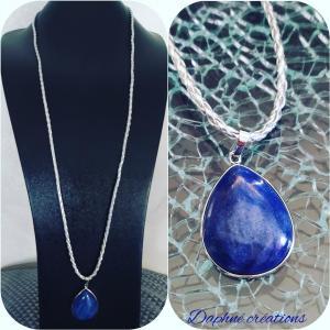 sautoir tréssé argenté et pendentif pierre naturelle lpis lazuli