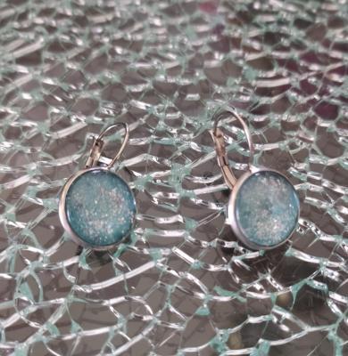 Boucles d'oreilles pendantes, cabochon de verre rond et paillettes