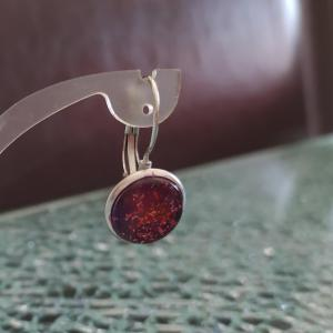 Boucles d'oreilles pendantes, cabochon de verre prune et paillettes