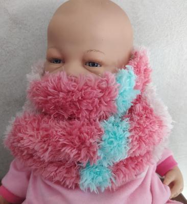 Col snood enfant fausse fourrure rose et turquoise.