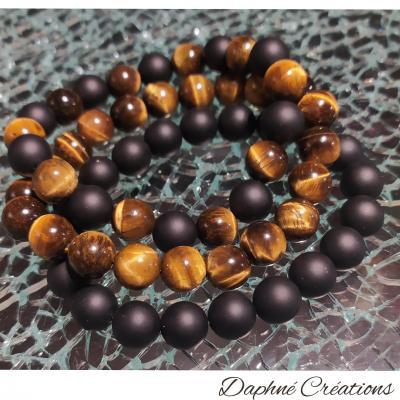 Bracelet homme, en perles naturelles, œil de tigre-onyx.