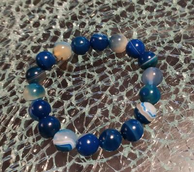Bracelet en perles naturelles, agates bleues