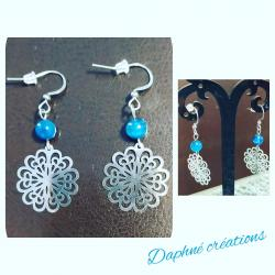 Boucles d'oreilles fleurs acier inoxydable et agates bleues
