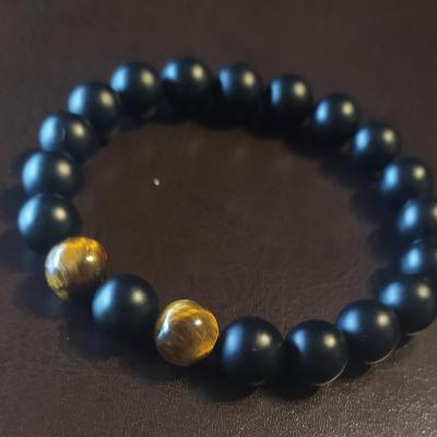 Bracelet homme, en perles naturelles, onyx et œil de tigre.