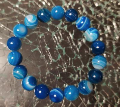 Bracelet en perles naturelles, agates bleues.