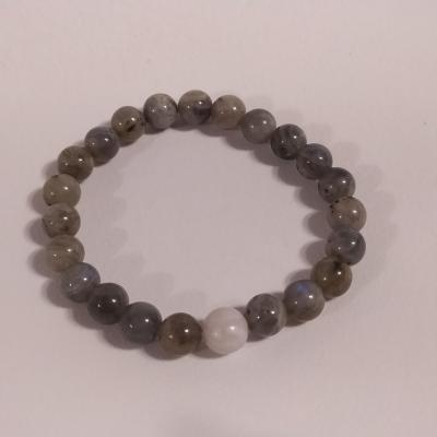 Bracelet en pierres naturelles labradorite et agate blanche.