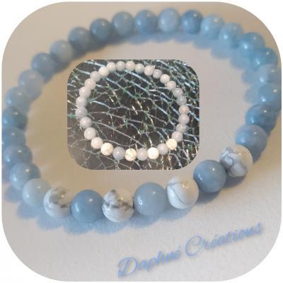 Bracelet en perles naturelles, Aigue marine et howlite.