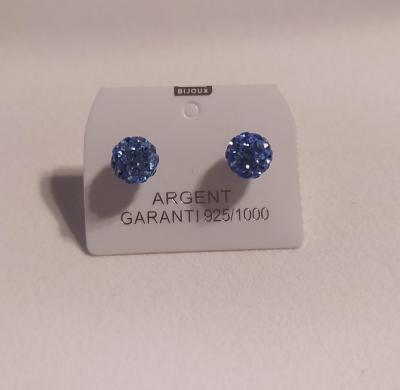 Boucles d'oreilles boules, argent 925 et oxyde de zirconium bleu.