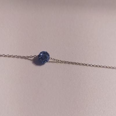 Bracelet argent 925, boule oxyde de zirconium bleu.