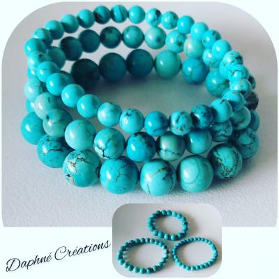 Bracelet en perles naturelles, turquoise.