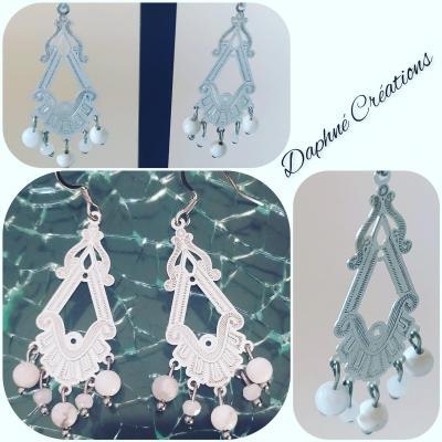 Boucles d'oreilles acier, pierres howlite et cristal swarovski blanc